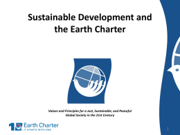 Sustainable Development and the Earth Charter