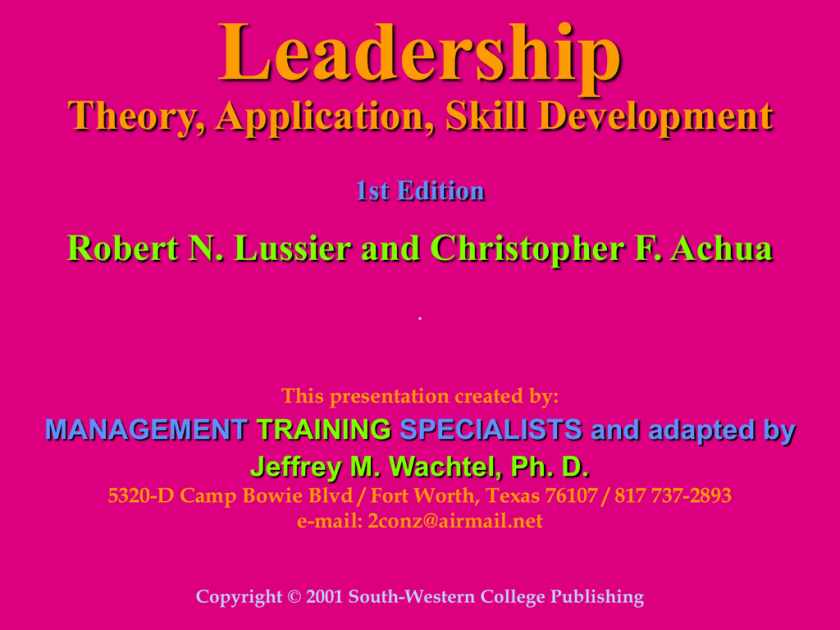 leadership theory application and skill development