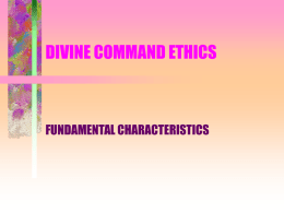 DIVINE COMMAND ETHICS - University of Dayton