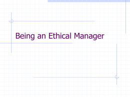 Being an Ethical Manager