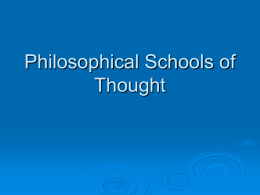 Philosophical Schools of Thought
