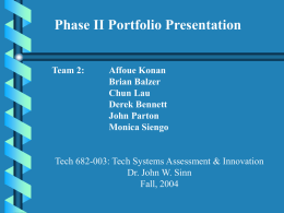TECH 682 Team 2 Technology Systems Assessment And Innovation