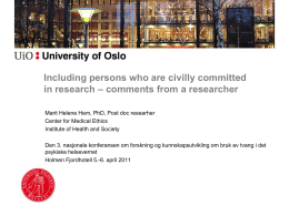 Including persons who are civilly committed in research – comments