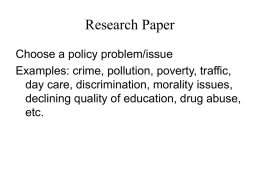 Research Paper: Public Policy