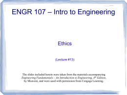 Lecture #13 - Ethics - Definitions and Case Studies