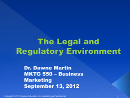 Regulatory Environment & Ethics