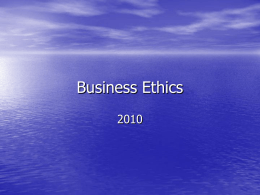 Ethics course lecture 1