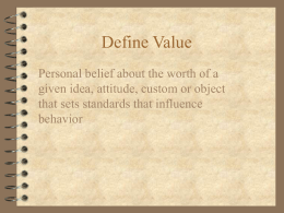 PPT: Values and Ethics