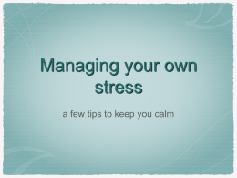 Managing your own stress