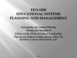 Educational Systems Planning and Management
