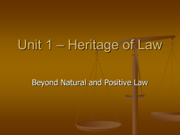 Unit 1 – Heritage of Law