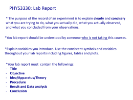 PHYS3330: Lab Report