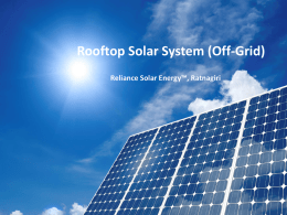 Rooftop Solar Systems - Reliance Solar Energy