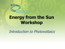 Introduction to Photovoltaics Powerpoint