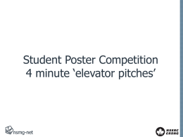 Student `elevator pitch` presentations - NSMG-Net