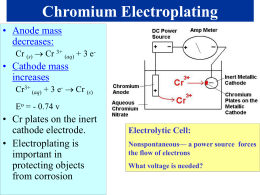 Chromium Electroplating Sample Problem