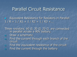 Parallel Circuit Resistance