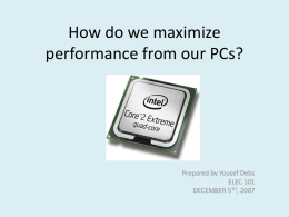 How do we maximize performance from our PCs?