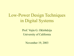 Low-Power Design Techniques in Digital Systems