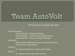 Team AutoVolt - University of Idaho