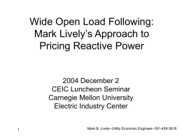 FERC Task Force on Pricing Reactive Power