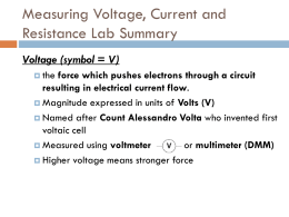Measuring Voltage, Current and Resistance Lab Summary
