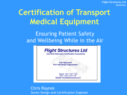 Certification of Transport Medical Equipment