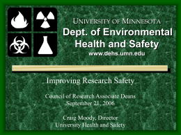 UNIVERSITY OF MINNESOTA Dept. of Environmental Health and