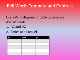 Bell Work: Compare and Contrast