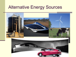 Alternative Energy Sources for Society
