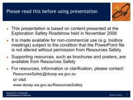 Mines Safety Roadshow 2008 - Department of Mines and Petroleum