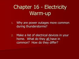Chapter 16 - Electricity Warm-up - Ms