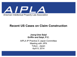 Uwe Szipl - Claim Construction - American Intellectual Property Law