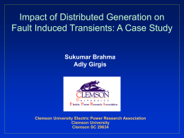 Distributed Generation at Clemson University