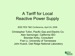 A Tariff for Reactive Power