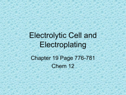 Electrolytic Cell and Electroplating