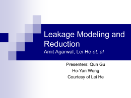 power modeling and leakage reduction