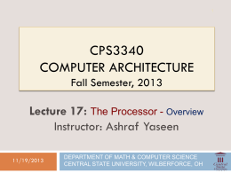 The Processor-Intro. - ODU Computer Science