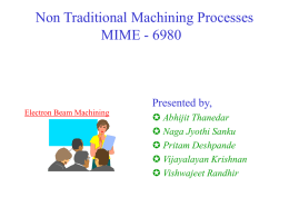 Non Traditional Machining Processes MIME - 6980