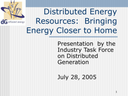 Distributed Energy Resources: Bringing Energy Closer to