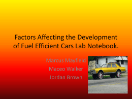 Factors Affecting the Development of Fuel Efficient Cars