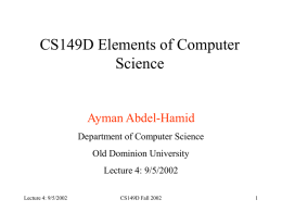 Lecture 4 - ODU Computer Science