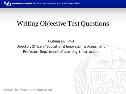 Developing Objective Assessment