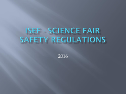 Safety Regulations - Bartlesville District Science Fair