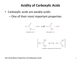 20.4 Acid-Base Properties of Carboxylic Acids
