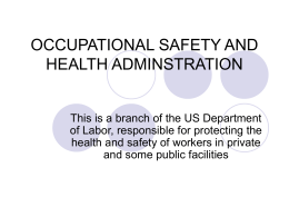 OCCUPATIONAL SAFETY AND HEALTH ADMINSTRATION