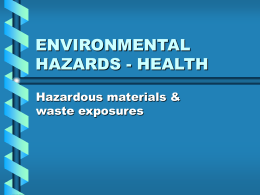 ENVIRONMENTAL HAZARDS - HEALTH