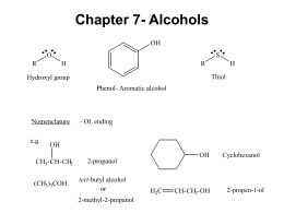 Chapter 7- Alcohols