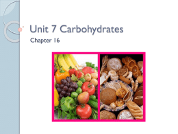 Unit 7 Carbohydrates