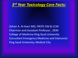 3rd Year Toxicology Core Facts: